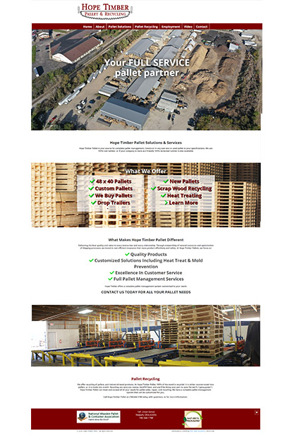 Website Client Hope Timber Pallet EMF Web Solutions Utica Ohio